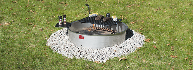 FSWS-30/7/PA Stainless Steel Campfire Ring with Swivel Grate