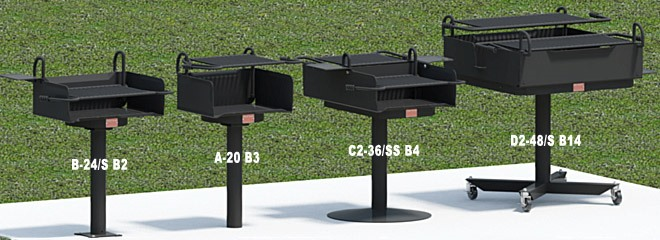 Grills with infinitely adjustable cooking grates