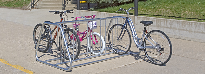 "Model BR210DS/G double-sided ""bell"" style bike rack"