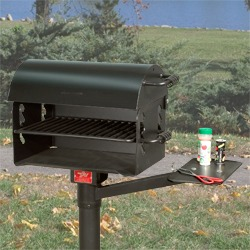 Model N-20 B2 Grill with Optional Model S6 Swivel Shelf and Optional Model GC/B-1 Grill Cover