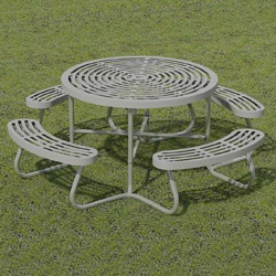 T100 Series   Round, Portable Table With CURVED Seats   Using Cut Steel  Plate