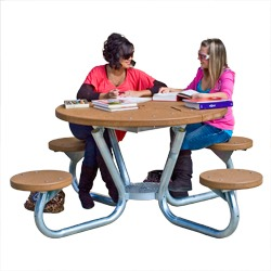 T Series Round Portable Table With ROUND Seats Using - Recycled plastic round picnic table