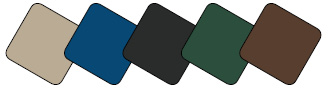 Powder Coat Colors: Blue, Black, Green, Brown