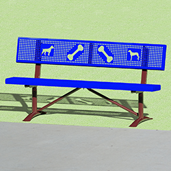 PCXB/CW-6HU12 park bench with dog art.