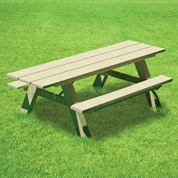 AT Series - Accessible, Traditional A-Frame Picnic Table With Steel Braces - Using Lumber