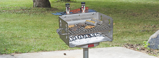 Model NS/S-20/S B6S Stainless Steel Charcoal Grill with bolt-on shelf
