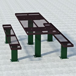 APT Series Multi-Pedestal Picnic Table - Using Expanded Steel