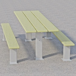 "APT Series Multi-Pedestal Picnic Table - Using 2x10"" Recycled Plastic Planks"