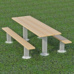 APT Series Multi-Pedestal Picnic Table - Using Lumber