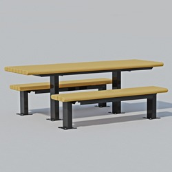 "End Accessible Multi-Pedestal Picnic Table - APT Series - 3x4"" Recycled Plastic"