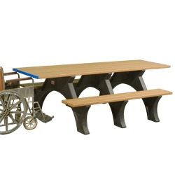 End Accessible Recycled Plastic Picnic Table With Arched Frame - ART Series