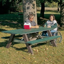 End Accessible A-Frame Picnic Table With Steel Braces - AT Series