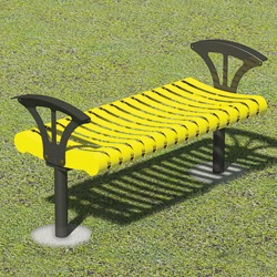 Contemporary Steel Bench - Flat Seat