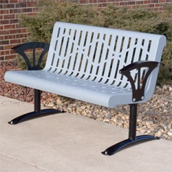 Contemporary Steel Bench - Contour Seat