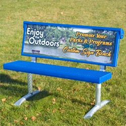 Sign Bench - B410 Series Traditional Seat - Your custom sign is the backrest.