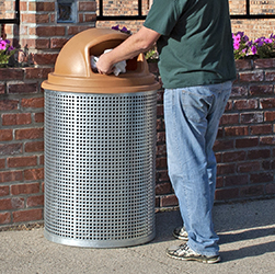 CN-R/R/G-55 Galvanized Perforated Steel Trash Receptacle #1