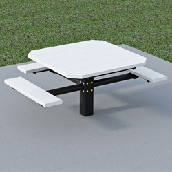 PQT3-4 Square Pedestal Wheelchair Accessible Picnic Table - Using Aluminum