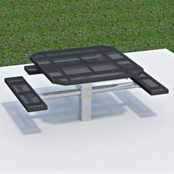 PQT3-4 Square Pedestal Wheelchair Accessible Picnic Table - Expanded or Perforated Steel