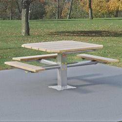 PQT3-4 Square Pedestal Wheelchair Accessible Picnic Table - Using Lumber