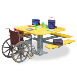 PQT3-4 Square Pedestal Wheelchair Accessible Picnic Table - Using Recycled Plastic