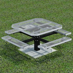 PQT-4 Series Square Pedestal PicnicTable - Using Expanded or Perforated Steel