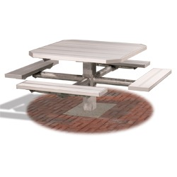 PQT-3 and PQT-4 Series Square Pedestal Picnic Table - Using Aluminum
