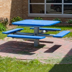 PQT-3 and PQT-4 Series Square Pedestal Picnic Table - Using Recycled Plastic