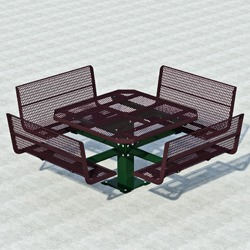 "PQTB Series 48"" Square Pedestal Picnic Table With Contour Bench Seats - Using Steel"