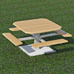 PQT-3 and PQT-4 Series Square Pedestal Picnic Table - Using Lumber