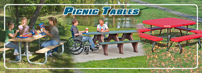 Picnic tables available in a variety of materials & colors.