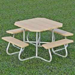SQT-3 and SQT-4 Series Portable Square Picnic Table -Using Lumber