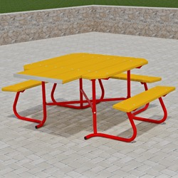 SQT3-4 Series Square Portable Wheelchair Accessible Picnic Table - Using Lumber or Recycled Plastic