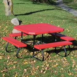 "SQT-4 Series Portable 48"" Square Picnic Table - Using Perforated Steel"