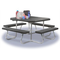 "SQT-4 Series Portable 48"" Square Picnic Table - Expanded Steel"