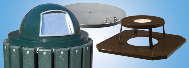 Dome & Flat Steel Lids for Trash Containers