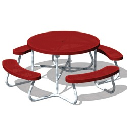 T100 Series - Round, Portable Picnic Table With CURVED Seats - Using Perforated Steel