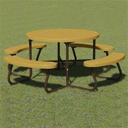 T100 Series - Round, Portable Picnic Table With CURVED Seats - Using Recycled Plastic