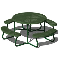T100 Series - Round, Portable Picnic Table With CURVED Seats - Using Expanded Steel
