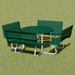 T100 Series - Round, Portable Picnic Table With CONTOUR Seats - Using Perforated Steel