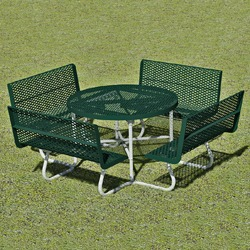 T100 Series - Round, Portable Picnic Table With CONTOUR Seats - Using Expanded Steel