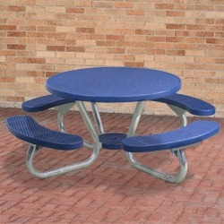 T200 Series - Round, Portable Picnic Table With CURVED Seats - Using Expanded Steel