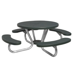 T200 Series - Round, Portable Picnic Table With CURVED Seats - Using Perforated Steel