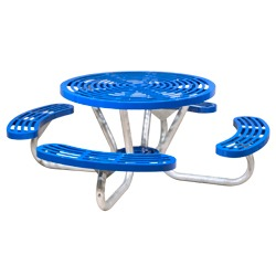T200 Series - Round, Portable Picnic Table With CURVED Seats - Using Cut Steel Plate