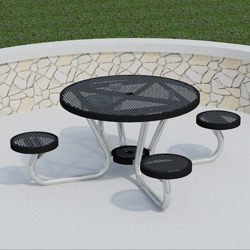T200 Series - Round, Portable Picnic Table With ROUND Seats - Using Perforated Steel