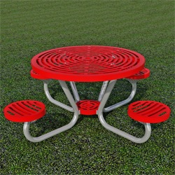 T200 Series - Round, Portable Picnic Table With ROUND Seats - Using Cut Steel Plate