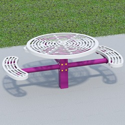 T300/T400 Series Round, Pedestal Accessible Picnic Table With CURVED Seats - Using Cut Steel Plate