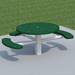T300/T400 Series Round, Pedestal Accessible Picnic Table With CURVED Seats - Using Recycled Plastic