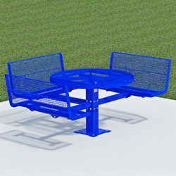 T300/T400 Series Round, Pedestal Accessible Picnic Table With CONTOUR Bench Seats - Using Expanded Steel