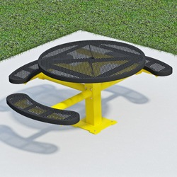T300/T400 Series Round, Pedestal Accessible Picnic Table With CURVED Seats - Using Perforated Steel