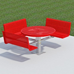 T300/T400 Series Round, Pedestal Accessible Picnic Table With CONTOUR Bench Seats - Using Perforated Steel